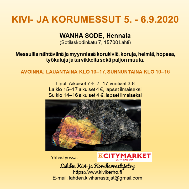 Kivi- ja Korumessut, Lahti, Hennala, Wanha Sode, 5.-6.9.2020